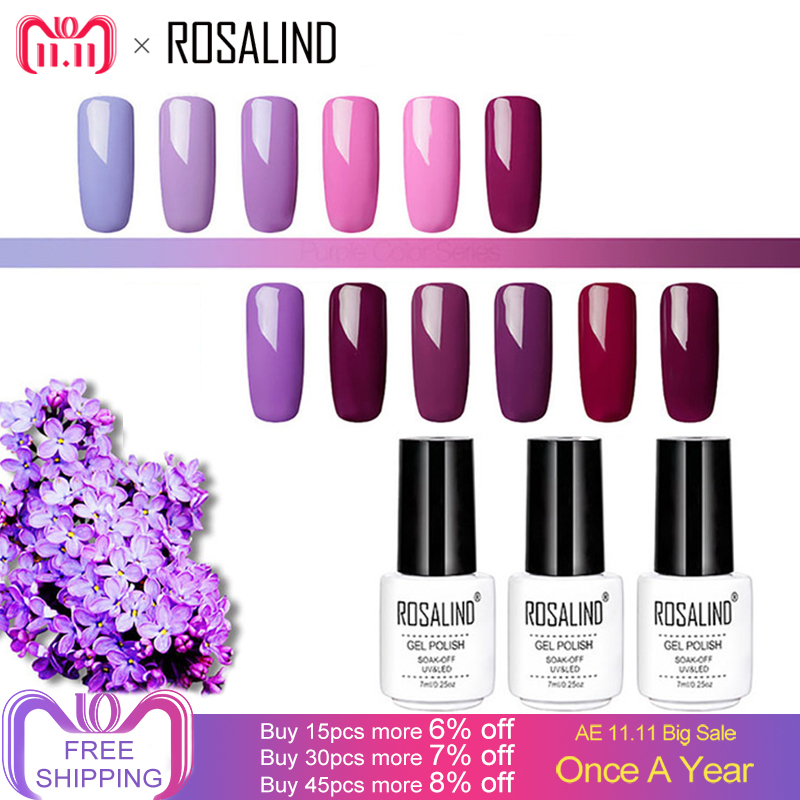 ROSALIND Gel Nail Polish 7ML Soak Off UV Colors White Bottle Nails Art Vernis Semi Permanent Gel Varnish Primer Manicure