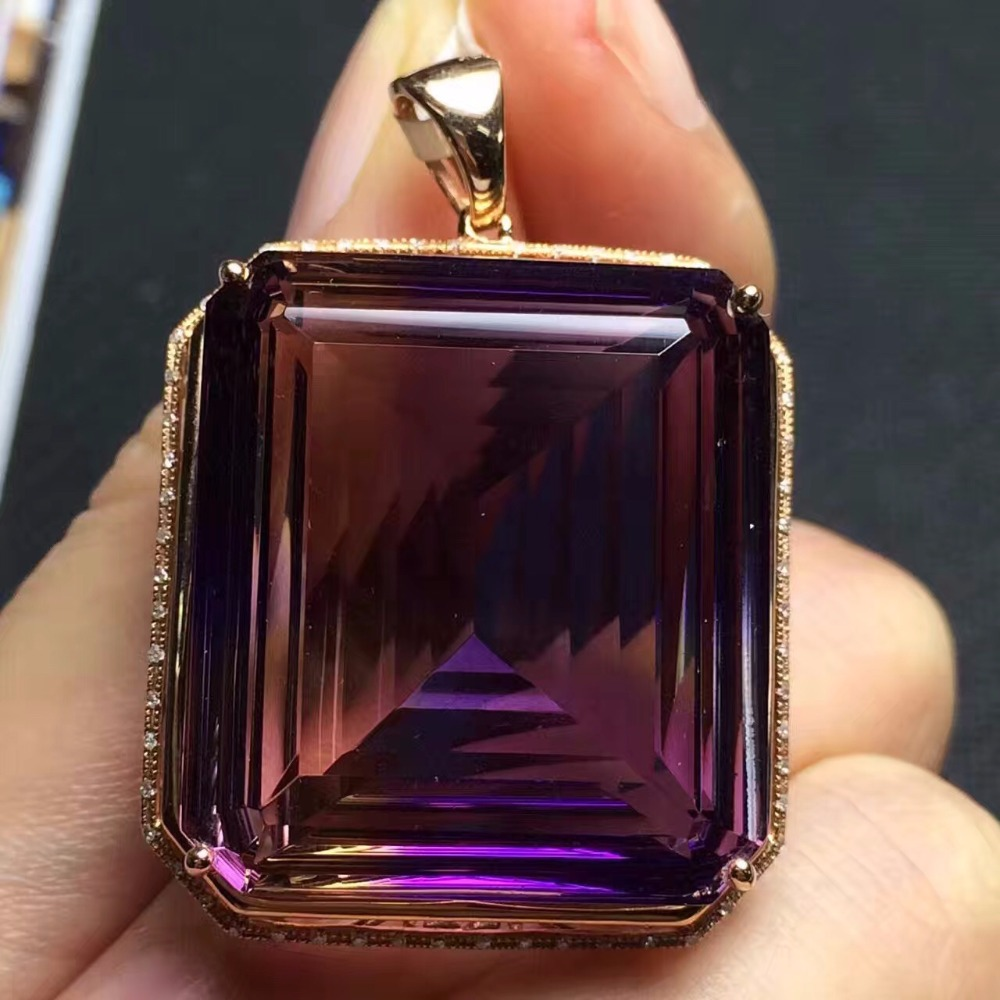 Fine Jewelry G18K Real 18K Gold Jewelries Rose Gold Rectangle 100% Natural Ametrine Gemstone Real Gold Pendant Necklace
