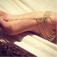2015 New Beach Fashion Multi Tassel Toe Bracelet Chain Link Foot Jewelry Anklet Free Shipping XY-B83