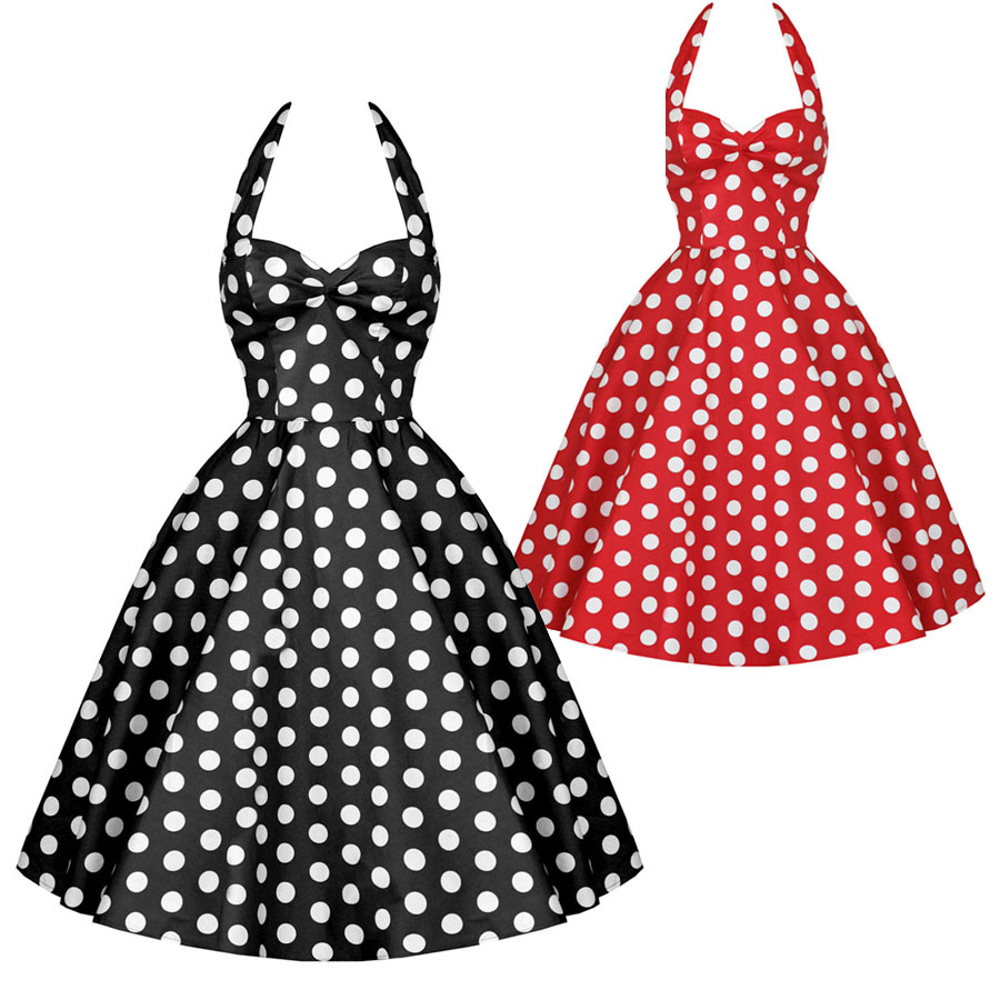 64600e1c9ae1 free shipping Fashion 50s vintage slim polka dot cotton one-piece dress red  black sexy party dress for women