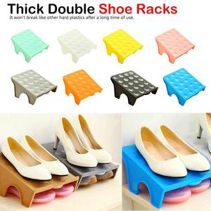 Plastic Small Shoe Organizer Portable Double Shoe Rack Storage Space Saver Shoes Organizers Stand Shelf for Living Room