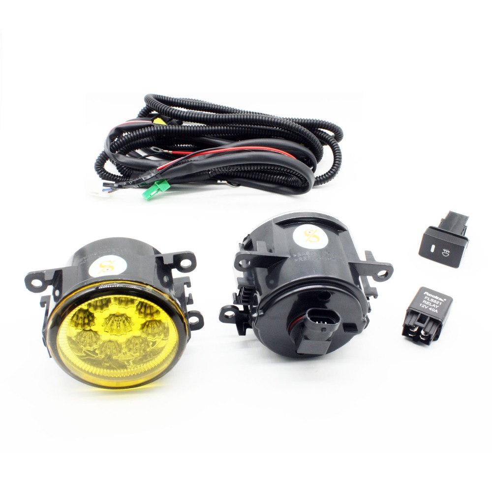H11 Wiring Harness Sockets Wire Connector Switch + 2 Fog Lights DRL Front Bumper LED Lamp Yellow For Peugeot 207 SW Estate WK_ for renault logan saloon ls h11 wiring harness sockets wire connector switch 2 fog lights drl front bumper 5d lens led lamp