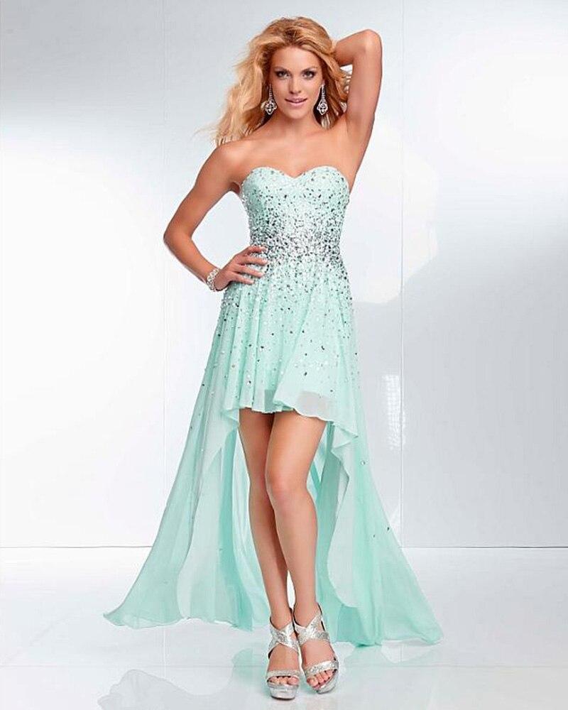 2017 Neu Kommen Luxus Kristall Charming Light Blue Homecoming Kleid Sommer Reizvolle Trägerlose Vestido High Low Kleid Plus Größe Direktverkaufspreis Abschlussballkleider