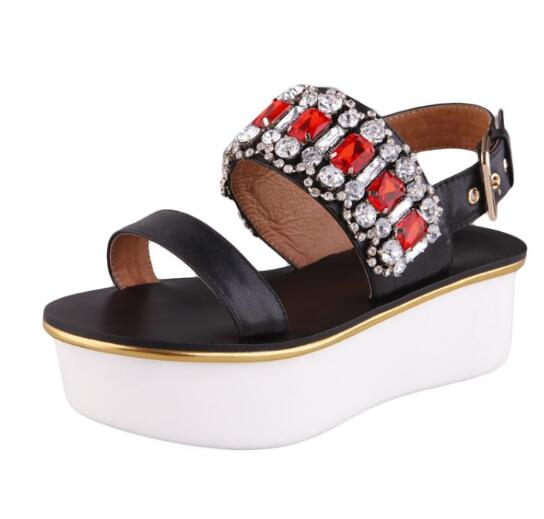 2017 summer newest open toe flat platform sandal high quality leather buckle strap woman shoes crystal embellished cutouts shoes  2017 newest summer black brown leather sandal for woman sexy open toe flat crystal sandal sequins bead t strap buckle shoes