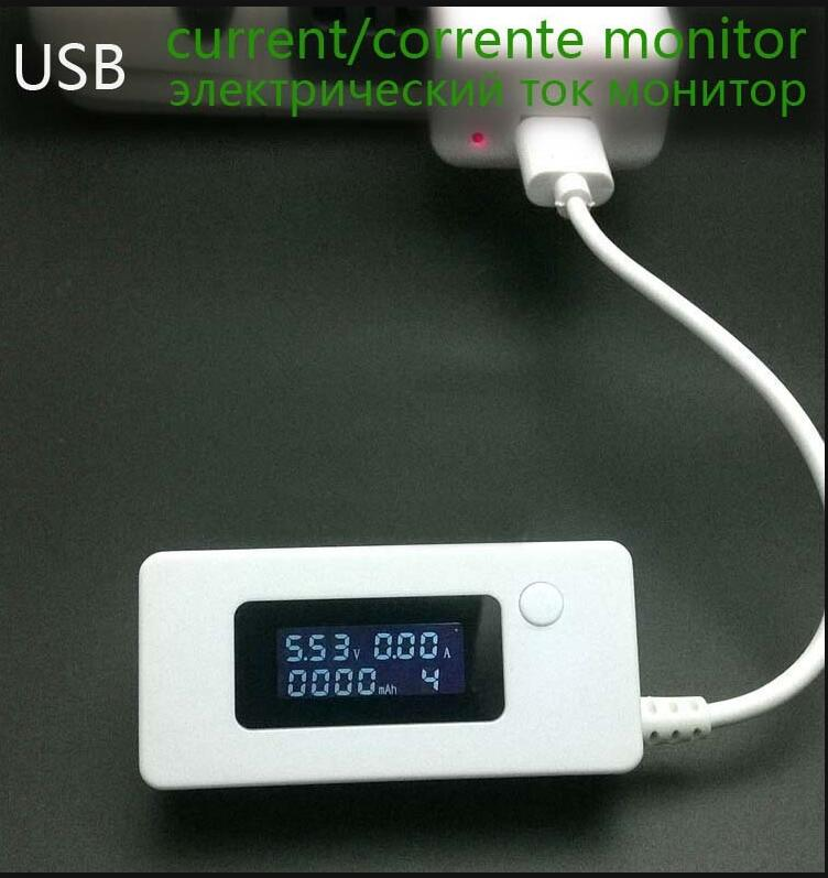 USB electric current monitor, ammeter voltmeter, LCD, 3V-7V, 0.05A-3.5A, 0-19999mAh, ampere Amper Meter, test power bank