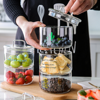 Heat-Resistant Stackable Glass Storage Jars Food Airtight Container Coffee mason jar Cereal Dispenser Kitchen Storage Organizer 1