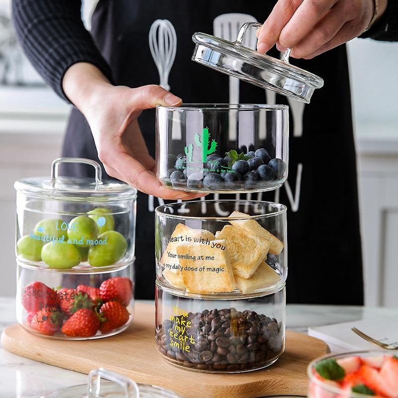 Heat-Resistant Stackable Glass Storage Jars Food Airtight Container Coffee Mason Jar Cereal Dispenser Kitchen Storage Organizer