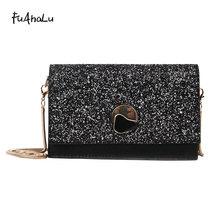 FuAhaLu Fashion Sequin messenger bags for women Lock Chains Minaudiere Korean style Evening solid handbag flap