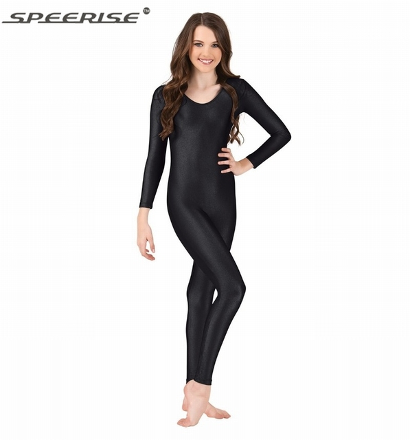 Free Shipping Womens Long Sleeve Dance Unitard Catsuit Adult Lycra Spandex Scoop Neck Nylon Skin Costume Unitard Bodysuit