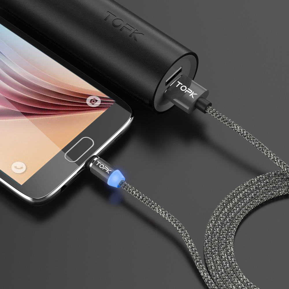 topk am17 1m led magnetic micro type c usb cable for mobile phones