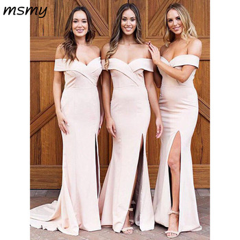 Elegant Sweetheart Mermaid Bridesmaid Dresses Of Shoulder Side Split Cheap Long Bridesmaid Dresses   Custom Made