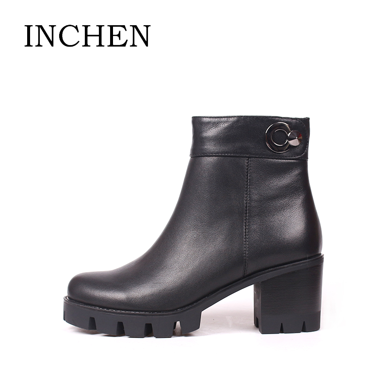 INCHEN Genuine Leather Women Ankle Boots 2017 Fashion Round toe Zipper Boots Winter Platform Cow Leather Sexy Ladies Shoes Z13 ladies casual lace up flat ankle boots fashion round toe plain cow leather boots for women female genuine leather autumn boots