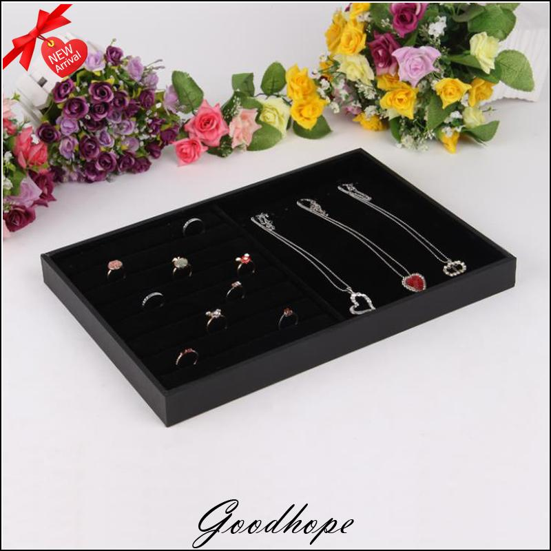 Black Velvet Necklace Organza Colar Bague Organizer Earring Holder Double Use Jewelry Dispaly Tray And Ring Cases In Packaging
