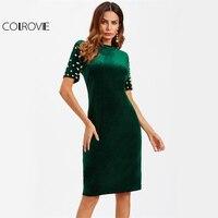 COLROVIE פרל חרוזים קטיפה ירוקה Bodycon רזה שמלה אלגנטית נשים המפלגה Midi שמלות סתיו 2017 אופנה סקסית שרוול קצר שמלה