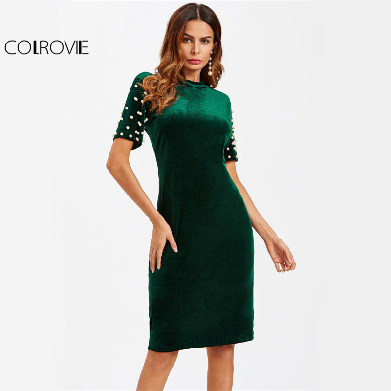 COLROVIE Pearl Beaded Green Velvet Dress Women Elegant Slim Bodycon Midi Party Dresses Fall 2017 Fashion