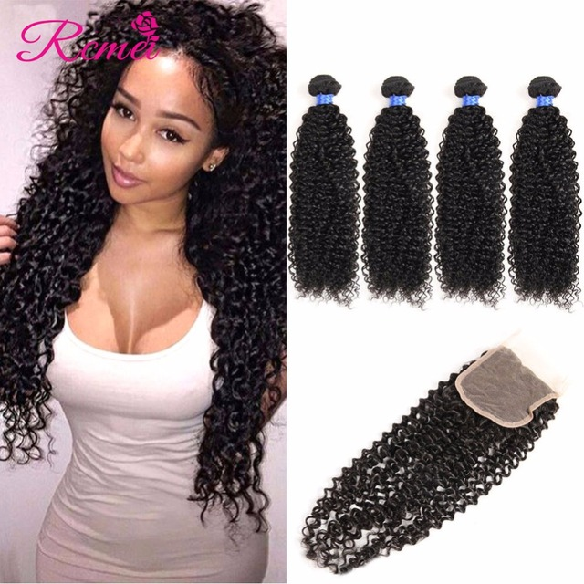 4*4 Top Lace Closure Mongolian Kinky Curly Hair With Closure Human Hair With Closure Ali Queen Hair Products With Closure Bundle