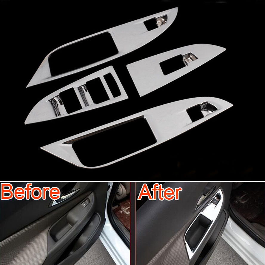Chrome Window Switch Lift Button Panel Cover Trim ABS For Chevrolet Cruze 2015