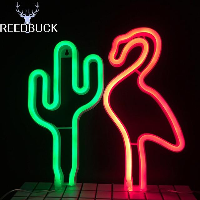 fairy led neon lights xmas holiday lamp migic cactus flamingo sign shop desk wall lights usb