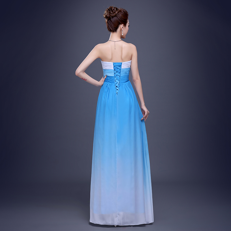 Wholesale Cheap Bridesmaid Dresses Free Shipping Blue Rosy Chiffon ...