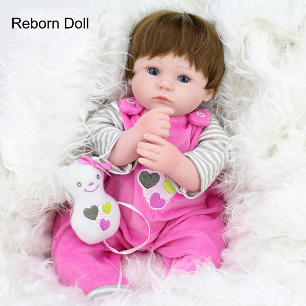 Soft Silicone Vinyl Dolls 16inch 40cm Doll Reborn Baby Brown Wig Girl Handmade Cotton Body Lifelike juguetes Babies Toys gift