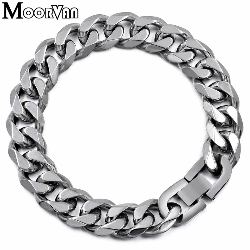 Moorvan Jewelry Men Bracelet Kubańskie ogniwa i łańcuchy Stainless Steel Bracelet for Bangle Male Akcesoria hurtownie B284