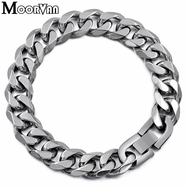 Moorvan Jewelry Men Bracelet Cuban links & chains Stainless Steel Bracelet for Bangle Male Accessory Wholesale B284