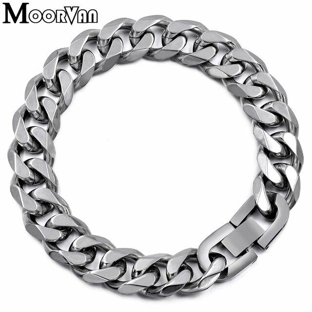 Moorvan Jewelry Для мужчин браслет кубинский ссылки и цепи Нержавеющаясталь браслет для браслет мужской аксессуар оптовая продажа B284
