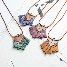 Bohemia Ethnic Handmade Mix Color Tassel Necklaces for Women Vintage Gypsy Geometric Pendant Necklaces Long Sweater Chain Choker(China)