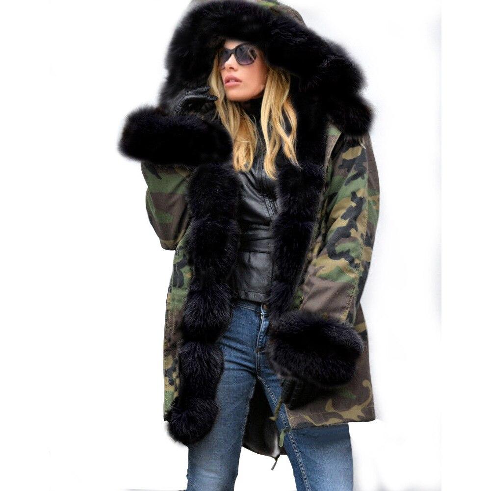 امرأة التمويه ستر كبيرة فو الراكون الفراء طوق معطف مقنع أبلى انفصال وهمية الأرنب الفراء بطانة الشتاء سترة-في سترات فرائية مقلنسة من ملابس نسائية على  مجموعة 2