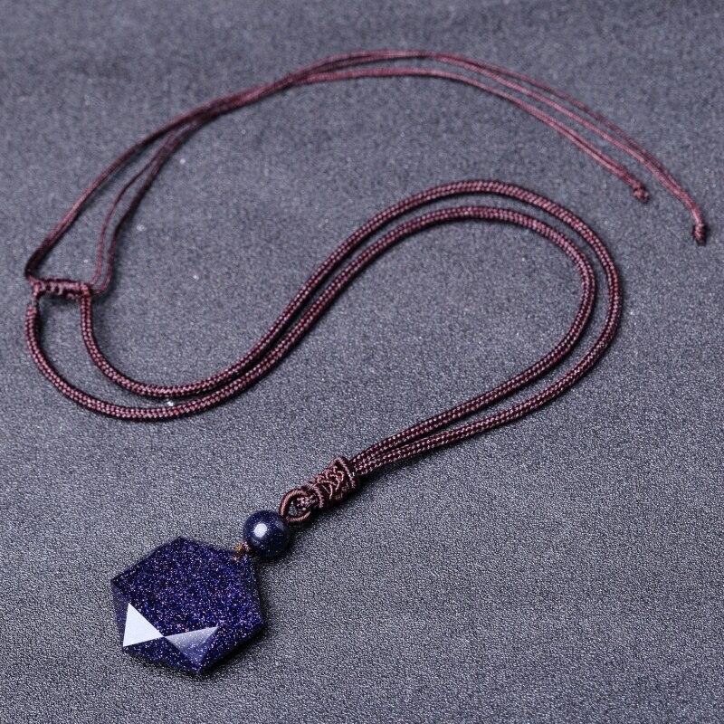 QIANXU Black Obsidian Six Awn Star Pendant Necklace Obsidian Star Jewelry Obsidian Jade Jewelry Fine Jewelry