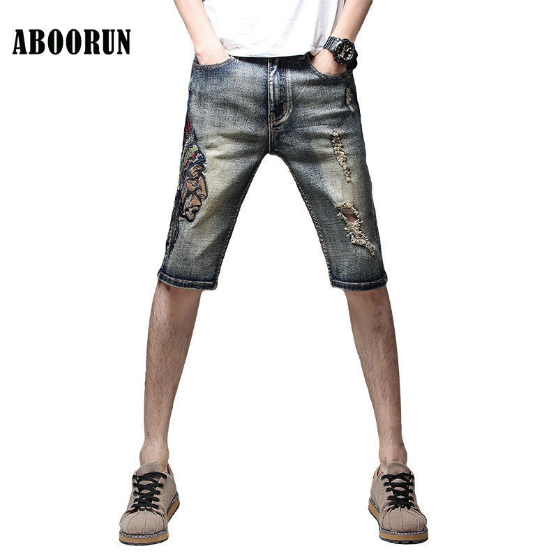 ABOORUN New Summer Denim Shorts Retro Skinny Embroidery Ripped Jeans Shorts Male Fashion Knee Length Shorts Streetwear x1041