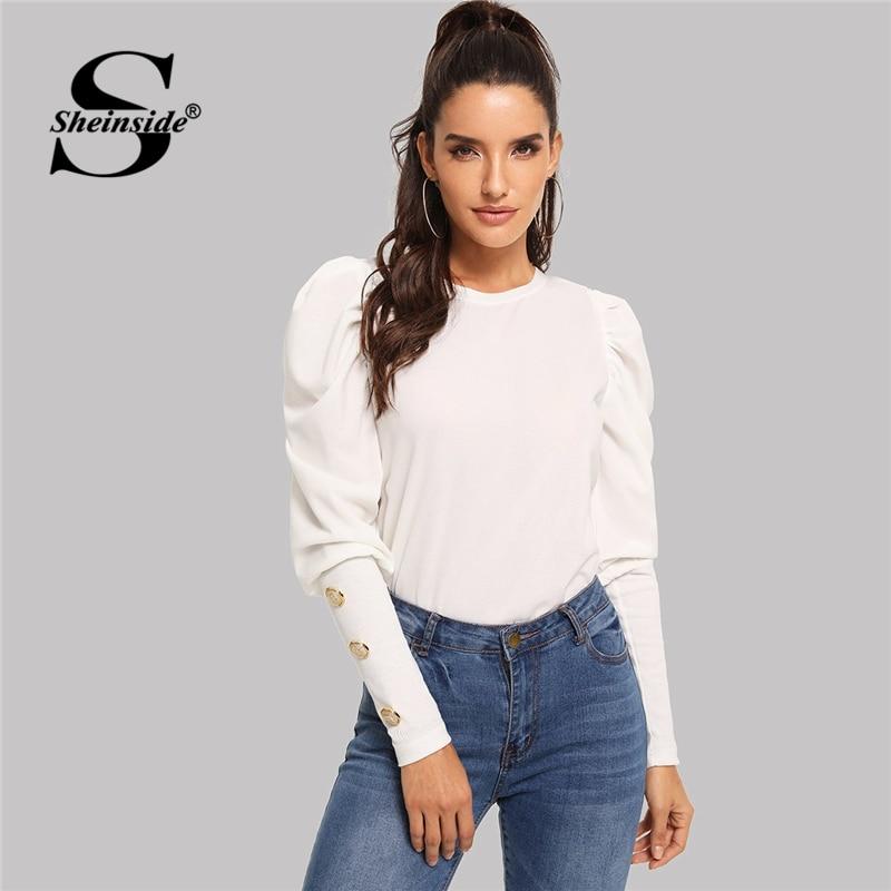 Sheinside Elegant White T-shirt Women Long Sleeve Top Puff Sleeve With Button Detail Tee Shirt Femme Autumn Shirts Ladies Tops