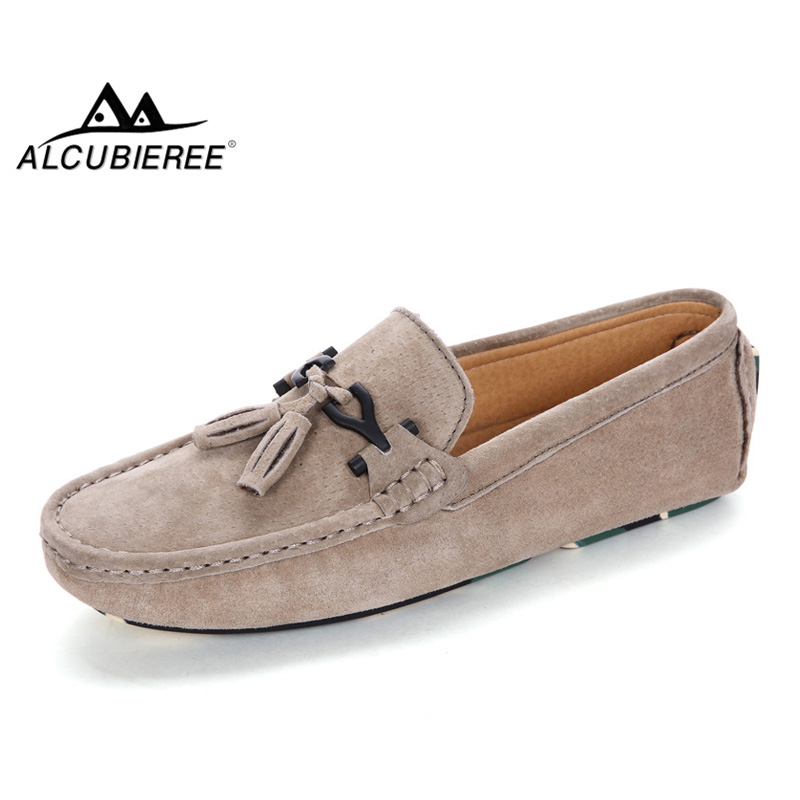 ALCUBIEREE Mens   Suede     Leather   Driving Shoes Stylish Metal Buckle Slip-on Flats Loafers with Tassel Comfort Boat Shoes Moccasins