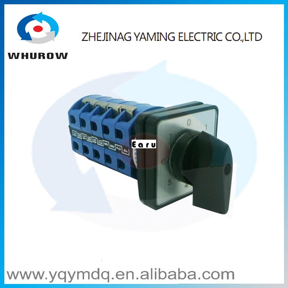 LW26-25/5 High quality dc voltage manual electrical changeover rotary cam switch five poles(phase) sliver point contacts 660v ui 10a ith 8 terminals rotary cam universal changeover combination switch