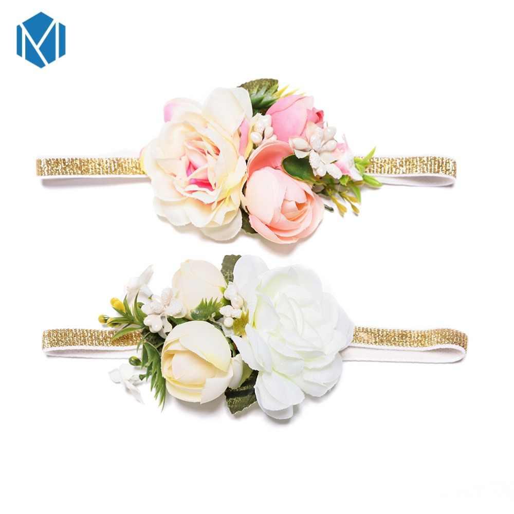 M MISM 1 pc เด็กดอกไม้มงกุฎแถบคาดศีรษะเด็กแถบหัวผ้าฝ้ายทำด้วยมือดอกไม้มงกุฎแถบคาดศีรษะ