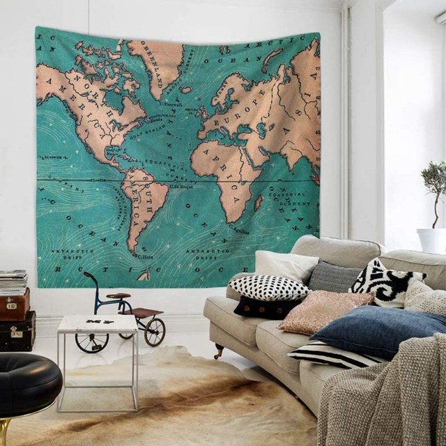 Tapestry Watercolor World Map Tapestry Wall Hanging Colorful Map