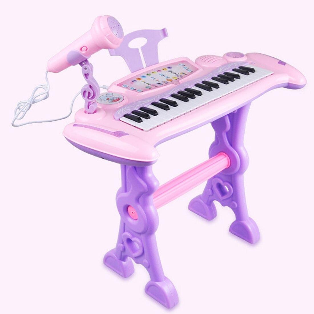 Jouet Musical rechargeable pour enfants orgue électronique 37 touches avec Microphone et tabouret pour filles jouets éducatifs pour enfants - 3