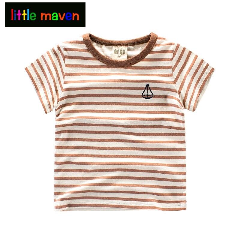 Majice s kratkimi rokavi za dečke dekleta zelene / črne / rjave črtaste majice majice z jadrnico Otroška oblačila Otroška oblačila