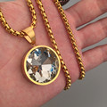 Iced out men women bling  yellow gold filled big round AAA cubic zirconia pendant necklace hip hop jewelry