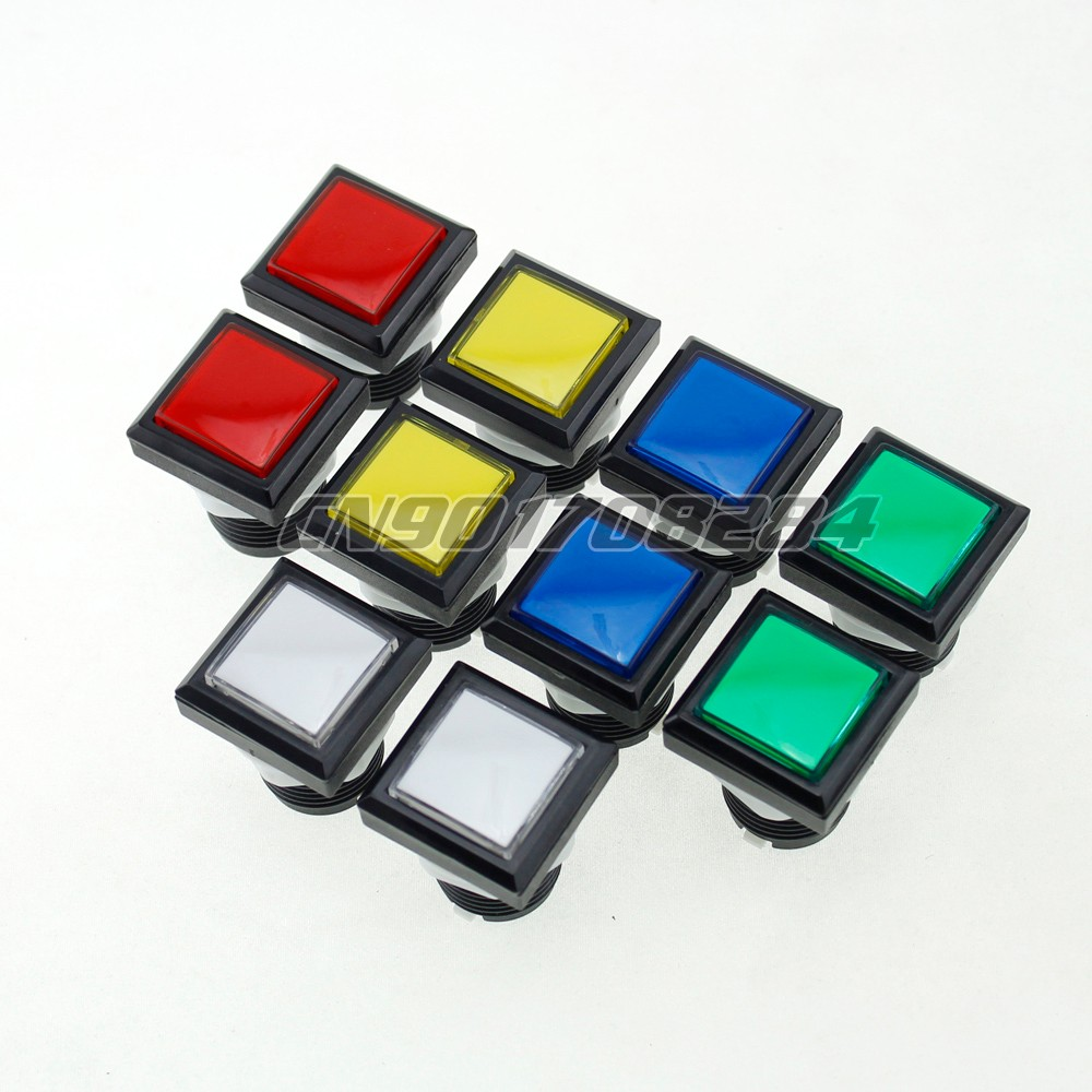 10x 33*33mm Square Shape LED Lit Illuminated Push Buttons With Micro Switch 12V For Arca ...