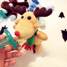 New Funny Pacifiers Silicone Baby Pacifier with Plush Animal Toy Chupetes Divertidos Baby Nipple Christmas Gift