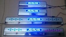 НОВАЯ Нержавеющая Сталь СВЕТОДИОДНЫЙ IIIuminated Дверной Порог Скребок Накладка Для Toyota RAV 4 RAV4 2014 2015 2016 стайлинга автомобилей