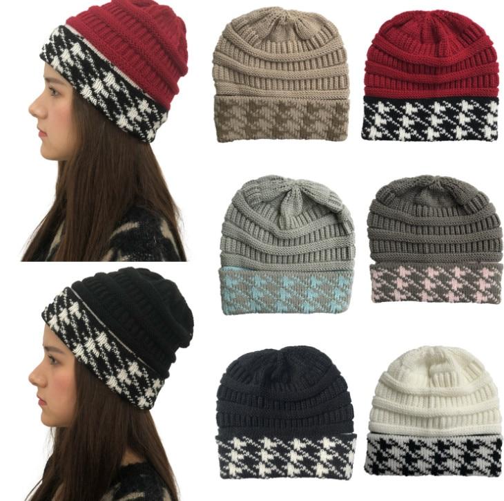 100pcs Fashion Thermal Cap  Thousand-bird-lattice  knitted cap