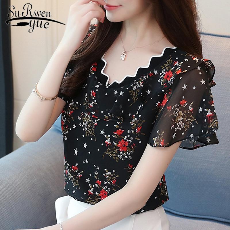 2019 Fashion Chiffon Shirt Women Blouse Short Sleeve Summer Women Tops Plus Size Print Blouse Women's Clothing Blusas 0095 30