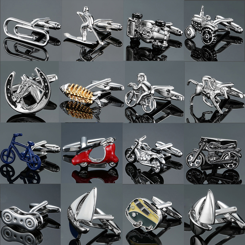 Factory Direct Sales Motorcycles Bicycles Racing Cars Cufflinks Animal Modeling Men's French Shirts Cuff Links Wholesale