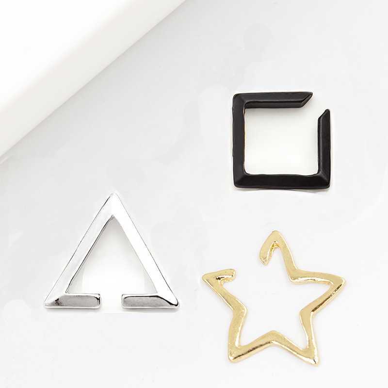 Fashion Opening Star Simple Golden Silver & Black Metallic Clip Earrings Women Ear Cuff