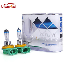 Urbanroad 1Pair H11 55W 12V Head Light Lamp Xenon 4300k Clear Glass Replacement Car Halogen Light Bulb White Parking