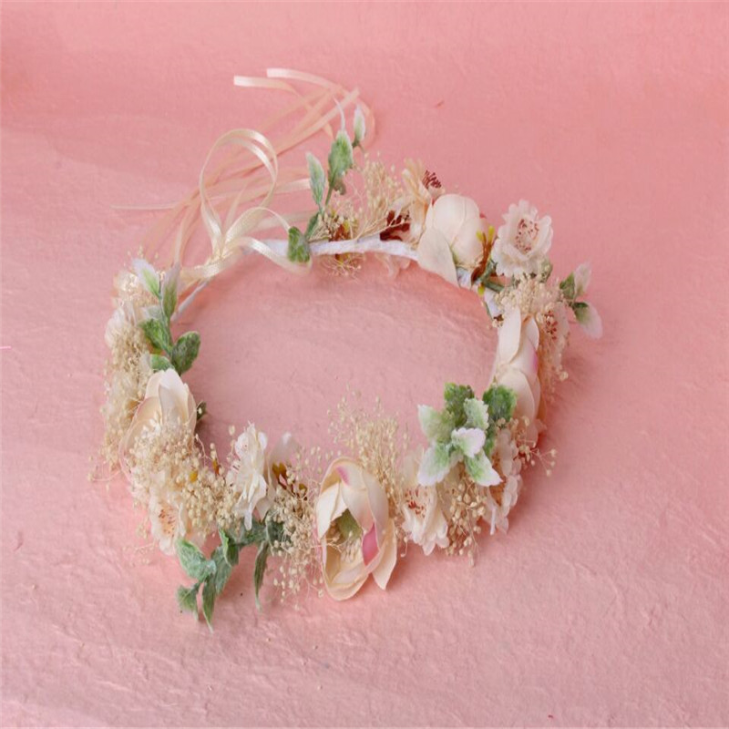 HIYONG 2019 Romantic Flower Crown Hairband Floral Crown Girl Bride Flower Crown For Beatuiful Girls Hair Accessories in Hair Jewelry from Jewelry Accessories