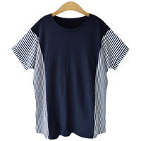 Summer Short Sleeve Cotton Striped T Shirt Woman Large Size Loose Casual Lady Tops Solid Plus