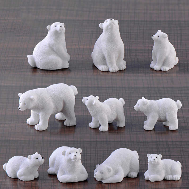 1PC Nette Micro Landschaft Dekoration Bonsai OrnamentsWhite bär Hunde Gans Harz Miniaturen Tiere Figurins